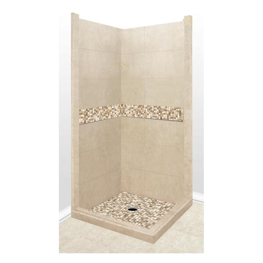 American Bath Factory Mesa Sistine Stone Wall Stone Composite Floor Rectangle 7-Piece Corner Shower Kit (Actual: 80-in x 42-in x 42-in)