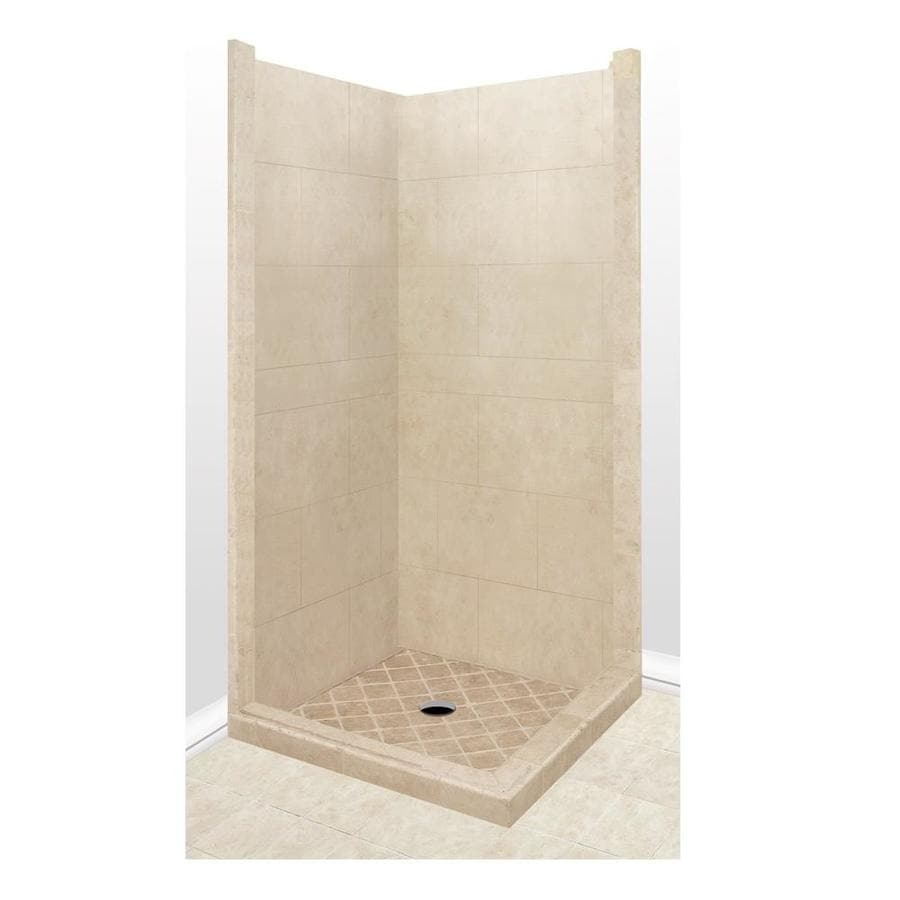 American Bath Factory Sonoma Medium Sistine Stone Wall Stone Composite Floor Rectangle 7-Piece Corner Shower Kit (Actual: 80-in x 42-in x 42-in)