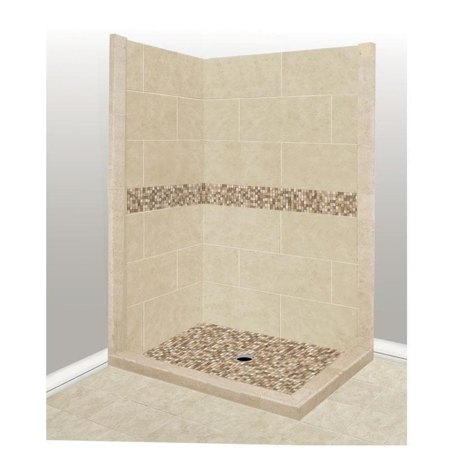 American Bath Factory Mesa Medium with Mesa Mosaic Tiles Sistine Stone Wall Stone Composite Floor Rectangle 7-Piece Corner Shower Kit (Actual: 80-in x 36-in x 48-in)