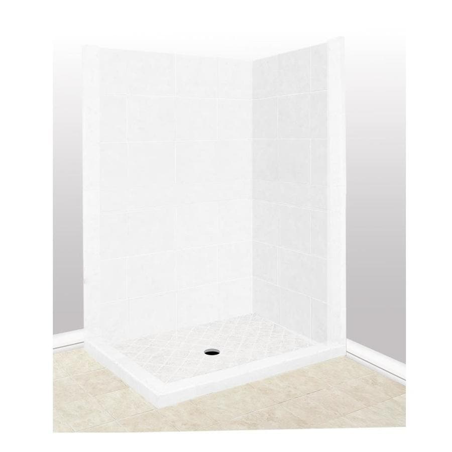 American Bath Factory Monterey Light Sistine Stone Wall Stone Composite Floor Rectangle 7-Piece Corner Shower Kit (Actual: 80-in x 42-in x 48-in)