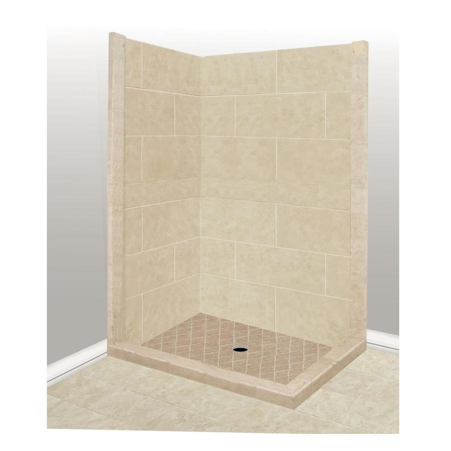 American Bath Factory Sonoma Sistine Stone Wall Stone Composite Floor Rectangle 7-Piece Corner Shower Kit (Actual: 80-in x 42-in x 48-in)