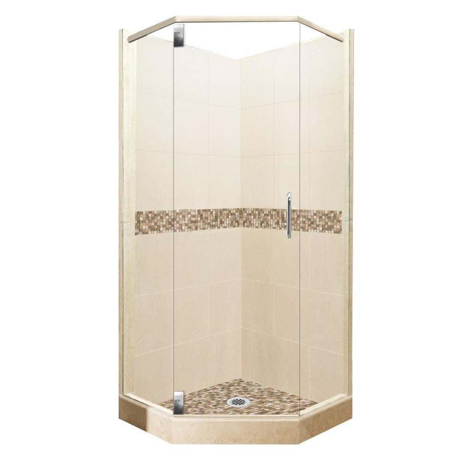 American Bath Factory Mesa Sistine Stone Wall Stone Composite Floor Neo-Angle 10-Piece Corner Shower Kit (Actual: 80-in x 38-in x 38-in)