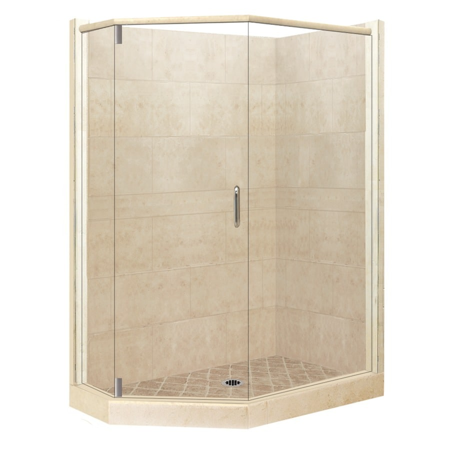 American Bath Factory Sonoma Medium Sistine Stone Wall Stone Composite Floor Neo-Angle 10-Piece Corner Shower Kit (Actual: 80-in x 36-in x 42-in)