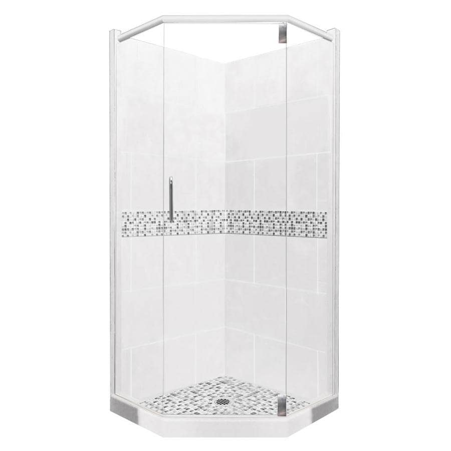 American Bath Factory Laguna Sistine Stone Wall Stone Composite Floor Neo-Angle 10-Piece Corner Shower Kit (Actual: 80-in x 42-in x 42-in)