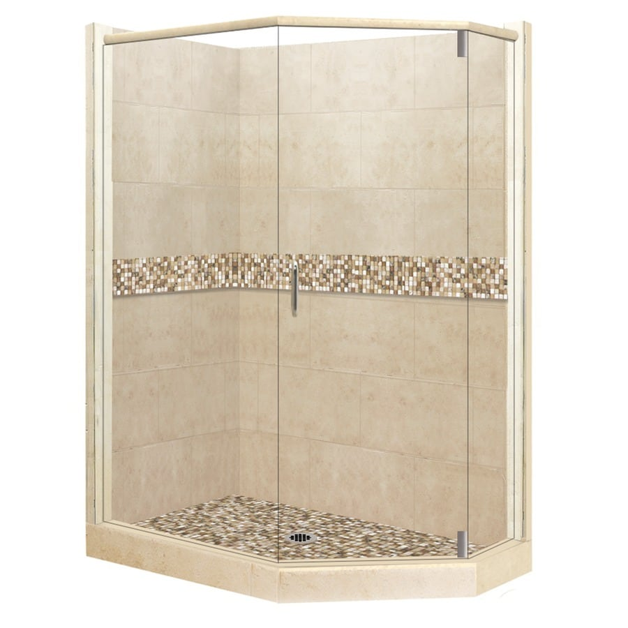 American Bath Factory Mesa Sistine Stone Wall Stone Composite Floor Neo-Angle 10-Piece Corner Shower Kit (Actual: 80-in x 36-in x 48-in)