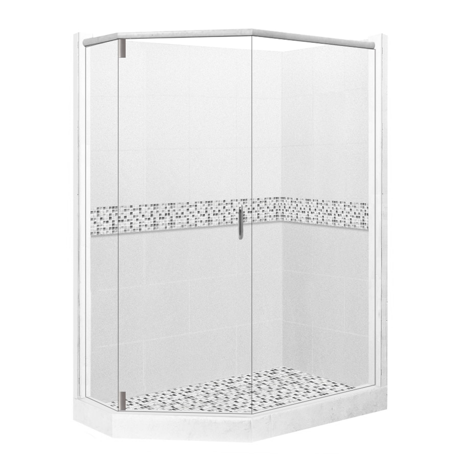 American Bath Factory Laguna Light with Laguna Mosaic Tiles Sistine Stone Wall Stone Composite Floor Neo-Angle 10-Piece Corner Shower Kit (Actual: 80-in x 42-in x 48-in)