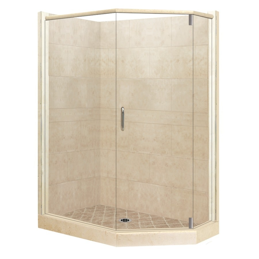 American Bath Factory Sonoma Medium Sistine Stone Wall Stone Composite Floor Neo-Angle 10-Piece Corner Shower Kit (Actual: 80-in x 42-in x 48-in)