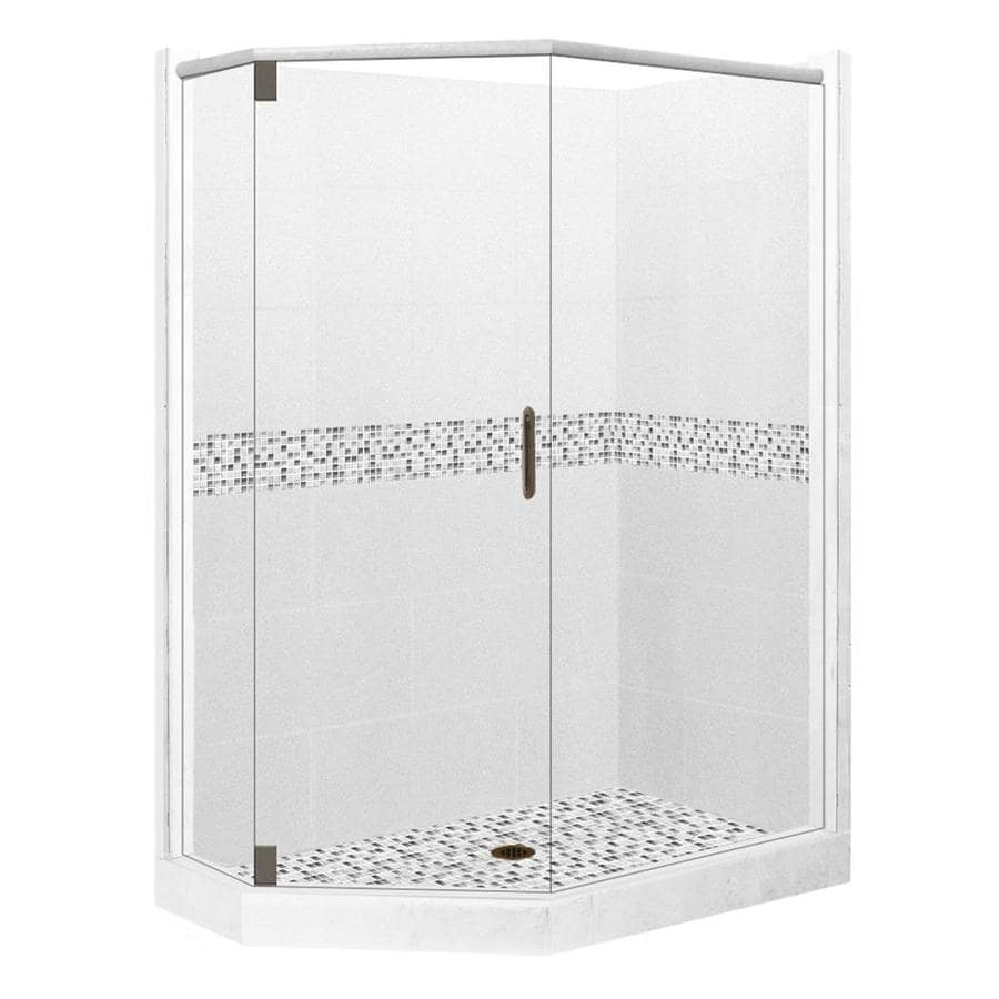 American Bath Factory Laguna Light with Laguna Mosaic Tiles Sistine Stone Wall Stone Composite Floor Neo-Angle 10-Piece Corner Shower Kit (Actual: 80-in x 32-in x 36-in)