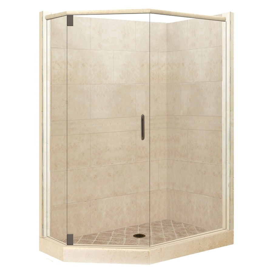 American Bath Factory Sonoma Sistine Stone Wall Stone Composite Floor Neo-Angle 10-Piece Corner Shower Kit (Actual: 80-in x 32-in x 36-in)
