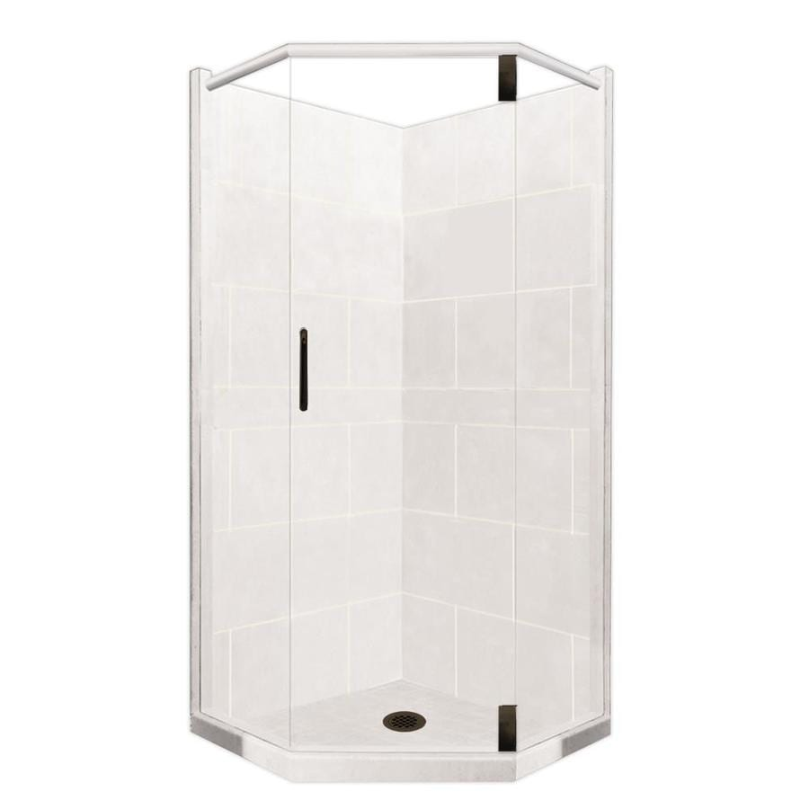 American Bath Factory Monterey Light Sistine Stone Wall Stone Composite Floor Neo-Angle 10-Piece Corner Shower Kit (Actual: 80-in x 36-in x 36-in)