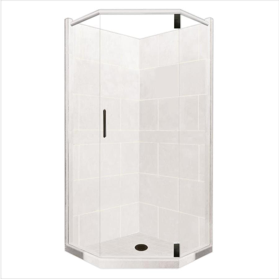 American Bath Factory Monterey Light Sistine Stone Wall Stone Composite Floor Neo-Angle 10-Piece Corner Shower Kit (Actual: 80-in x 38-in x 38-in)