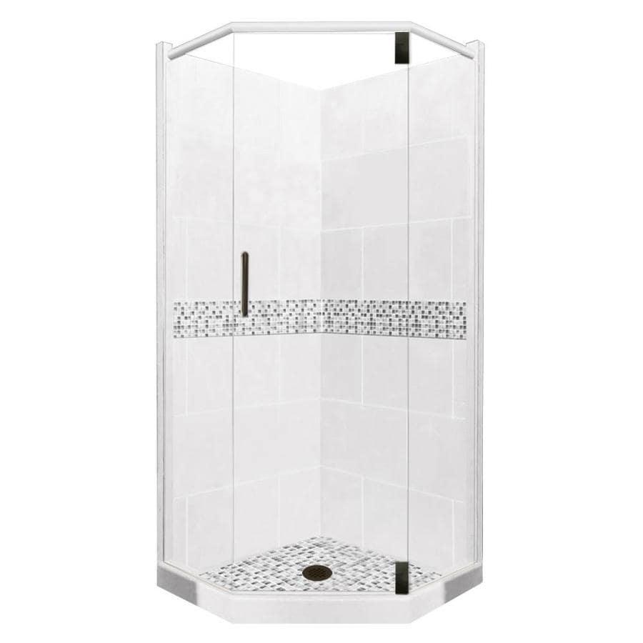 American Bath Factory Laguna Sistine Stone Wall Stone Composite Floor Neo-Angle 10-Piece Corner Shower Kit (Actual: 80-in x 38-in x 38-in)