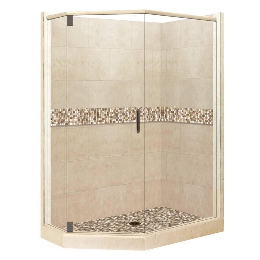 American Bath Factory Mesa Medium with Mesa Mosaic Tiles Sistine Stone Wall Stone Composite Floor Neo-Angle 10-Piece Corner Shower Kit (Actual: 80-in x 36-in x 42-in)