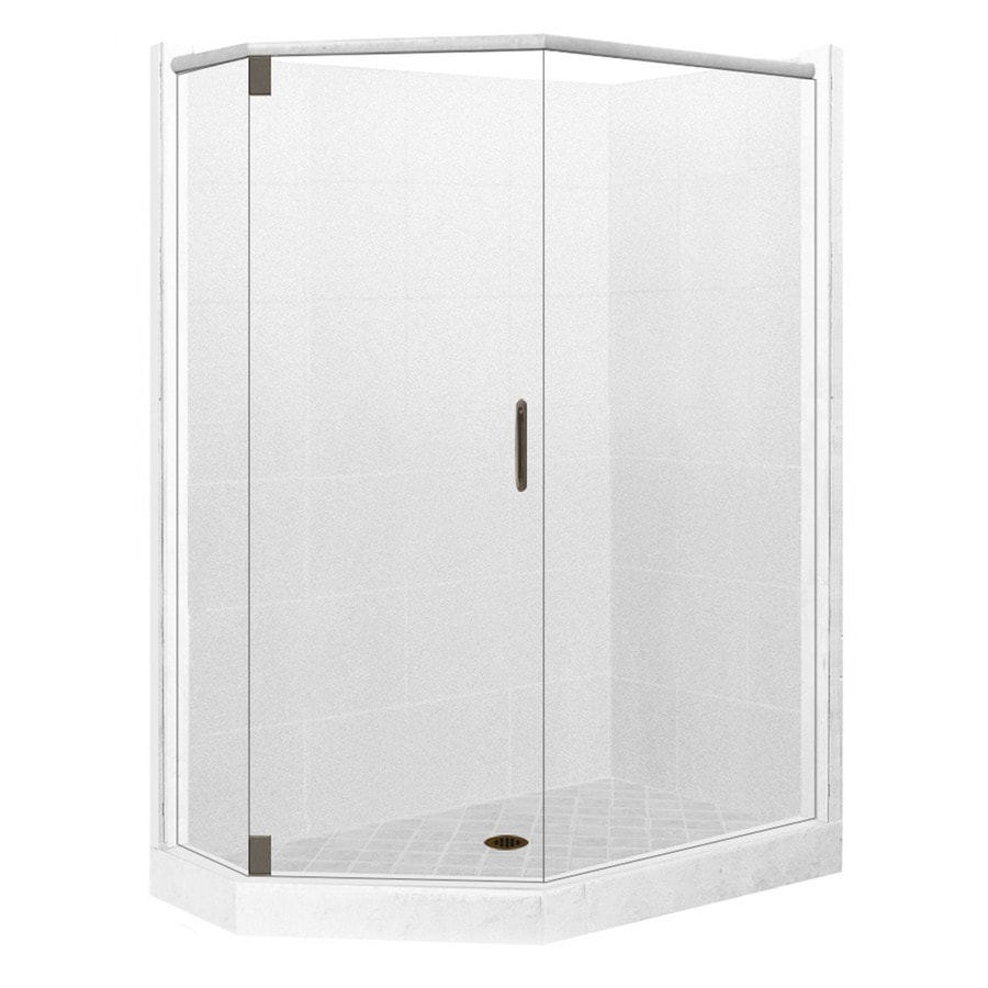 American Bath Factory Monterey Light Sistine Stone Wall Stone Composite Floor Neo-Angle 10-Piece Corner Shower Kit (Actual: 80-in x 36-in x 42-in)