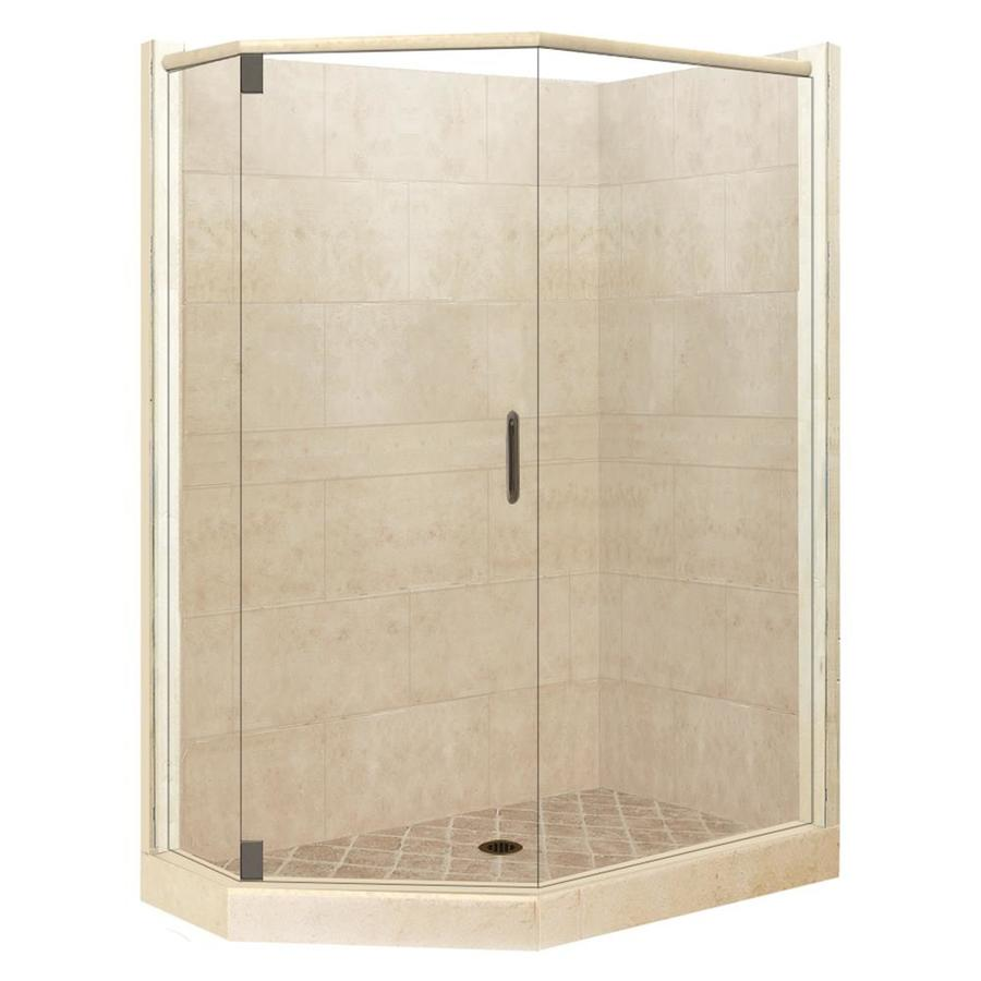 American Bath Factory Sonoma Sistine Stone Wall Stone Composite Floor Neo-Angle 10-Piece Corner Shower Kit (Actual: 80-in x 42-in x 48-in)