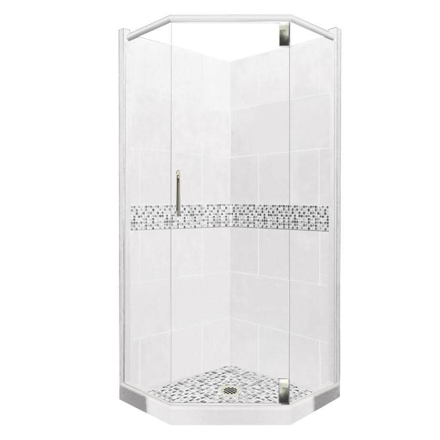 American Bath Factory Laguna Light with Laguna Mosaic Tiles Sistine Stone Wall Stone Composite Floor Neo-Angle 10-Piece Corner Shower Kit (Actual: 80-in x 36-in x 36-in)