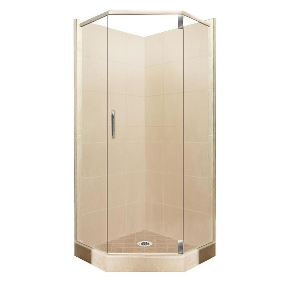 American Bath Factory Sonoma Medium Sistine Stone Wall Stone Composite Floor Neo-Angle 10-Piece Corner Shower Kit (Actual: 80-in x 38-in x 38-in)