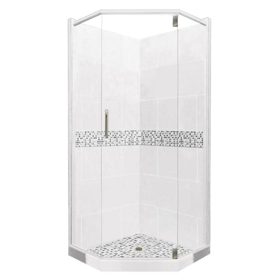 American Bath Factory Laguna Light with Laguna Mosaic Tiles Sistine Stone Wall Stone Composite Floor Neo-Angle 10-Piece Corner Shower Kit (Actual: 80-in x 42-in x 42-in)