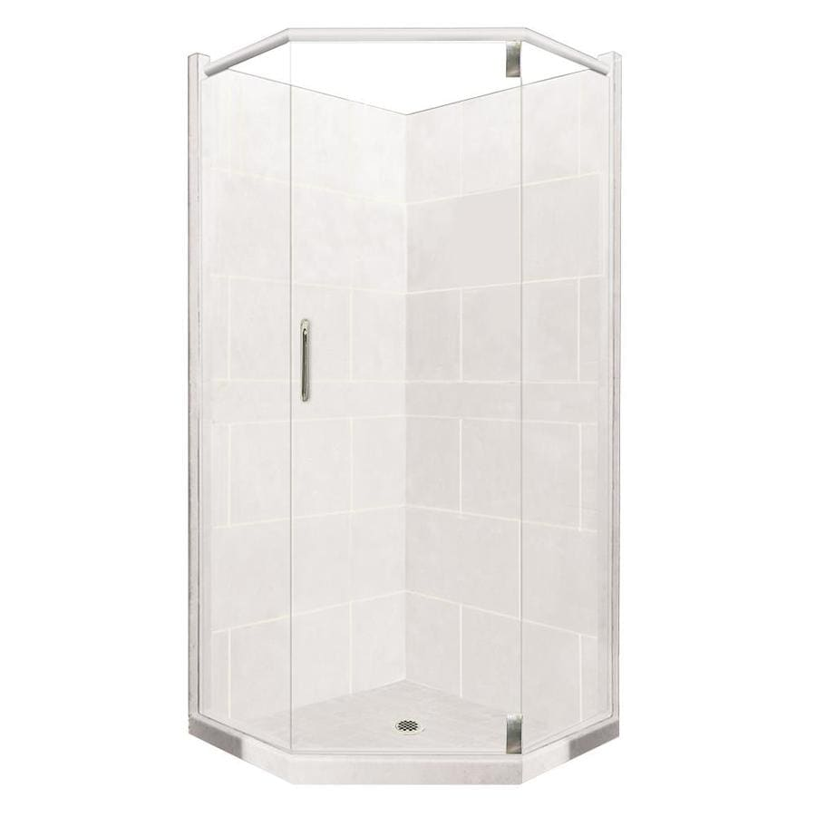 American Bath Factory Monterey Light Sistine Stone Wall Stone Composite Floor Neo-Angle 10-Piece Corner Shower Kit (Actual: 80-in x 42-in x 42-in)