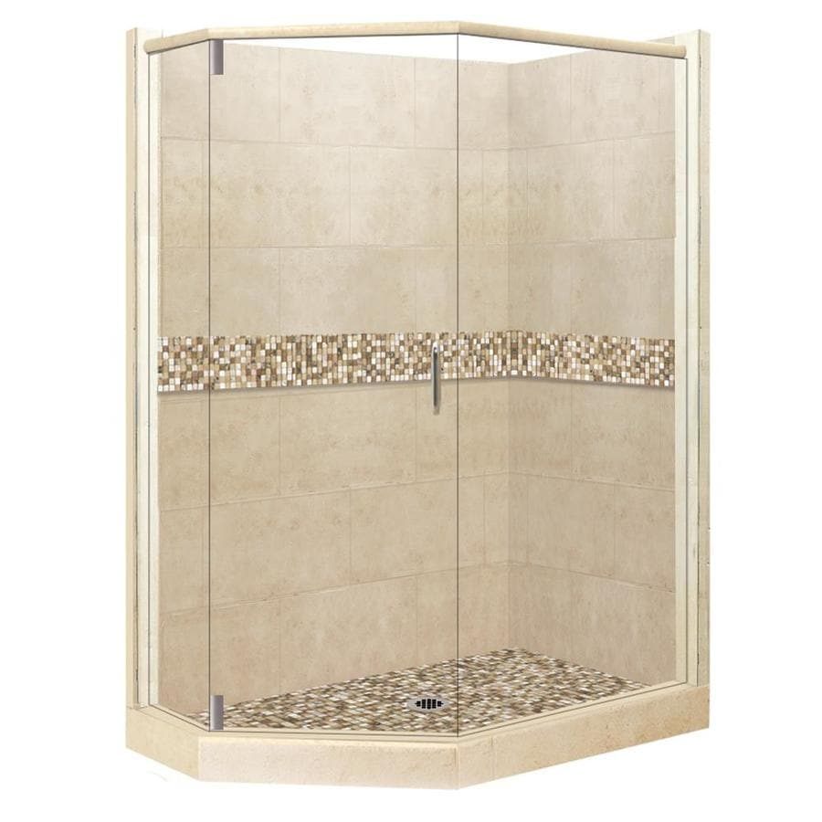 American Bath Factory Mesa Medium with Mesa Mosaic Tiles Sistine Stone Wall Stone Composite Floor Neo-Angle 10-Piece Corner Shower Kit (Actual: 80-in x 42-in x 48-in)