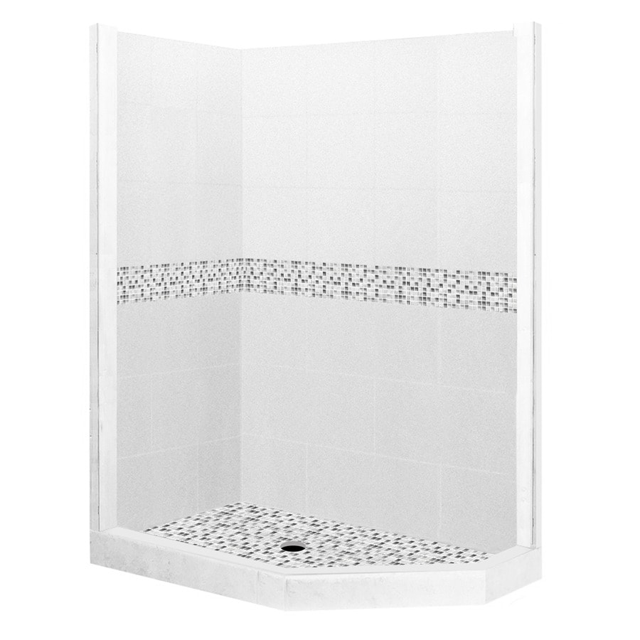American Bath Factory Laguna Light with Laguna Mosaic Tiles Sistine Stone Wall Stone Composite Floor Neo-Angle 7-Piece Corner Shower Kit (Actual: 80-in x 32-in x 36-in)