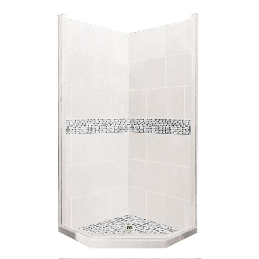 American Bath Factory Laguna Sistine Stone Wall Stone Composite Floor Neo-Angle 7-Piece Corner Shower Kit (Actual: 80-in x 36-in x 36-in)