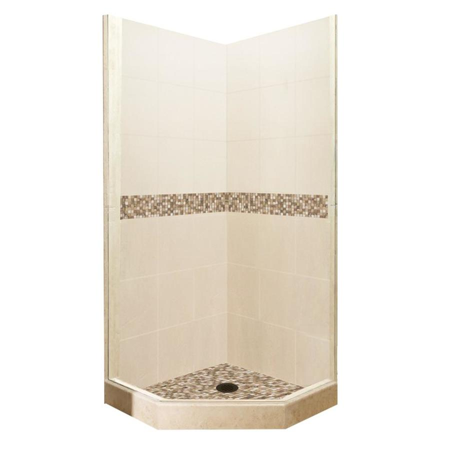 American Bath Factory Mesa Sistine Stone Wall Stone Composite Floor Neo-Angle 7-Piece Corner Shower Kit (Actual: 80-in x 36-in x 36-in)