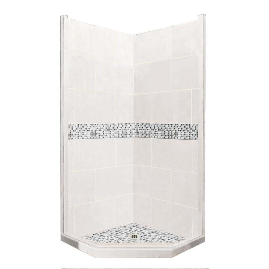 American Bath Factory Laguna Light with Laguna Mosaic Tiles Sistine Stone Wall Stone Composite Floor Neo-Angle 7-Piece Corner Shower Kit (Actual: 80-in x 36-in x 36-in)