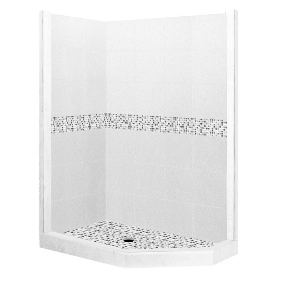 American Bath Factory Laguna Light with Laguna Mosaic Tiles Sistine Stone Wall Stone Composite Floor Neo-Angle 7-Piece Corner Shower Kit (Actual: 80-in x 36-in x 42-in)