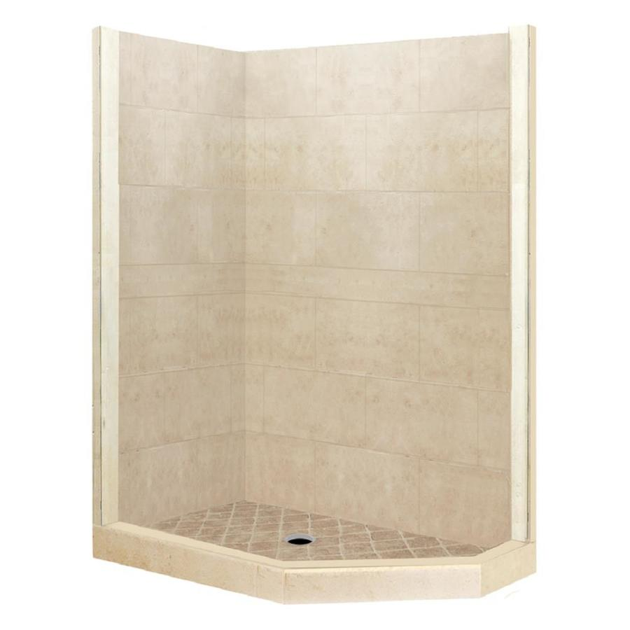 American Bath Factory Sonoma Medium Sistine Stone Wall Stone Composite Floor Neo-Angle 7-Piece Corner Shower Kit (Actual: 80-in x 36-in x 42-in)