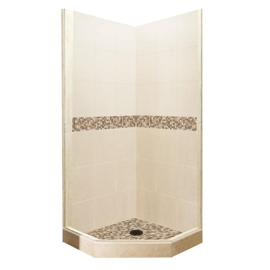American Bath Factory Mesa Medium with Mesa Mosaic Tiles Sistine Stone Wall Stone Composite Floor Neo-Angle 7-Piece Corner Shower Kit (Actual: 80-in x 42-in x 42-in)