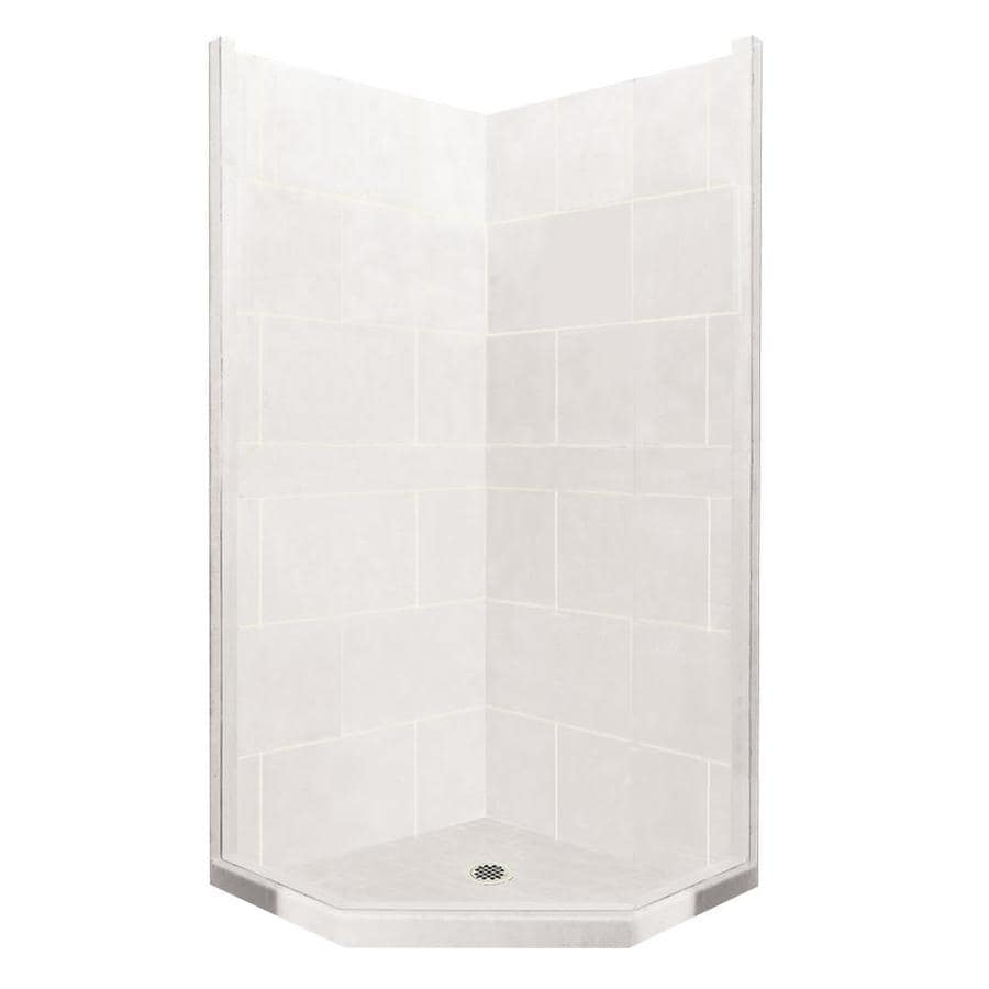 American Bath Factory Monterey Light Sistine Stone Wall Stone Composite Floor Neo-Angle 7-Piece Corner Shower Kit (Actual: 80-in x 42-in x 42-in)