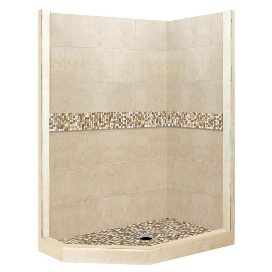 American Bath Factory Mesa Medium With Mesa Mosaic Tiles Sistine Stone Wall Stone Composite Floor Neo-angle 7-Piece Corner Shower Kit (Actual: 80-in x 36-in x 48-in)