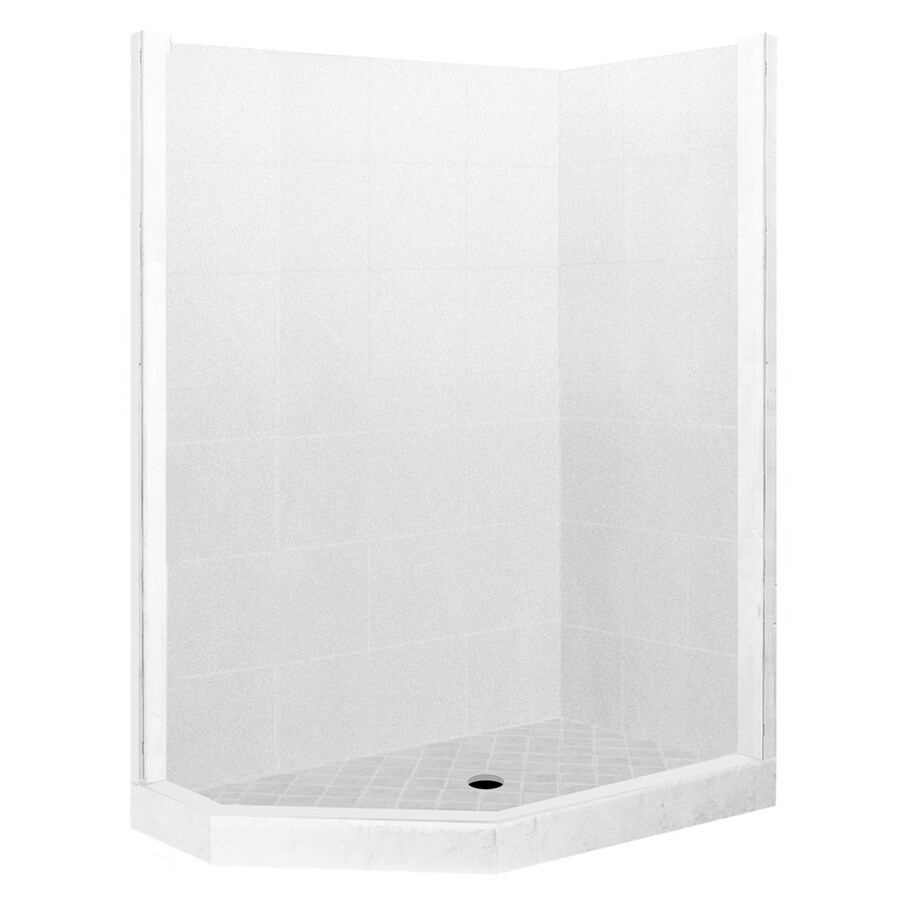American Bath Factory Monterey Light Sistine Stone Wall Stone Composite Floor Neo-Angle 7-Piece Corner Shower Kit (Actual: 80-in x 42-in x 48-in)