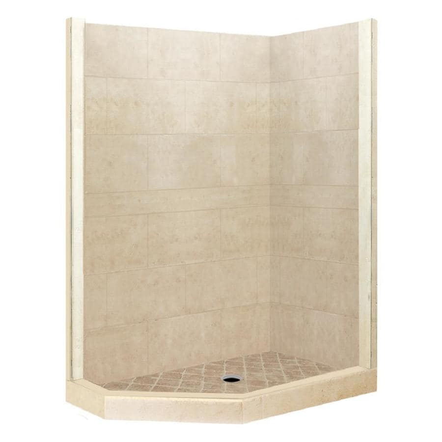 American Bath Factory Sonoma Medium Sistine Stone Wall Stone Composite Floor Neo-Angle 7-Piece Corner Shower Kit (Actual: 80-in x 42-in x 48-in)
