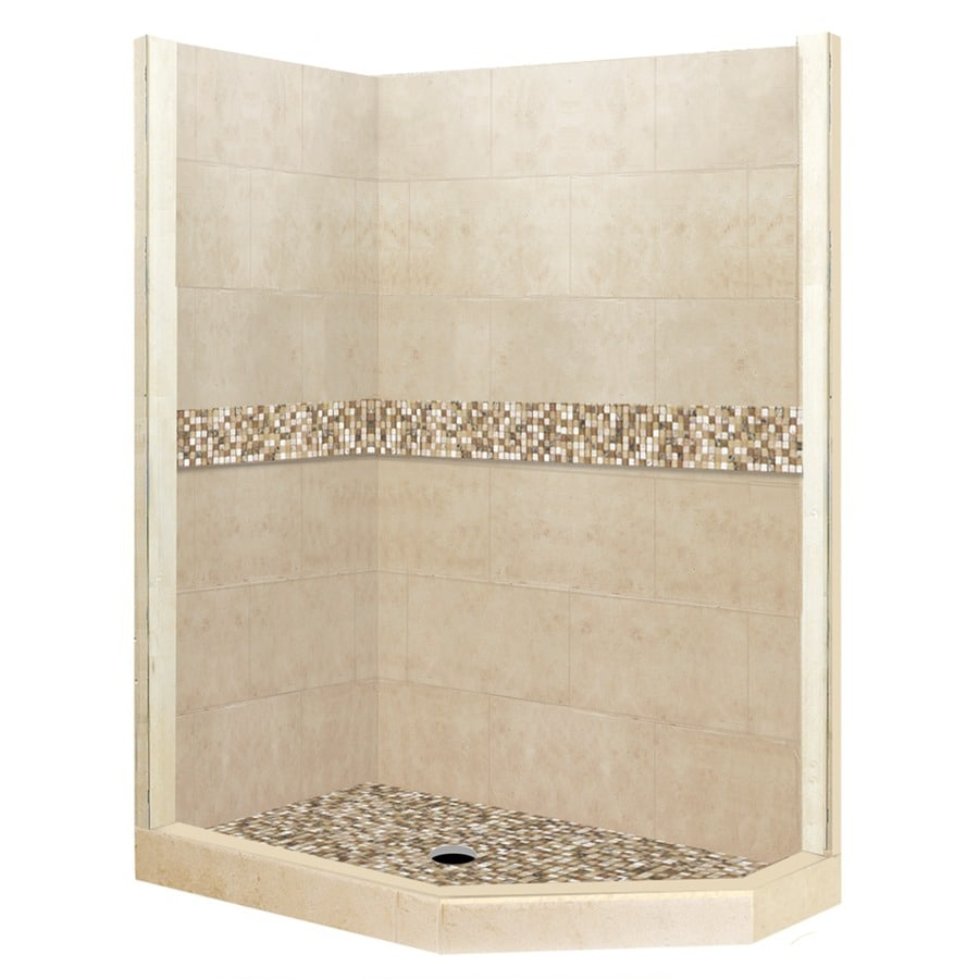 American Bath Factory Mesa Medium with Mesa Mosaic Tiles Sistine Stone Wall Stone Composite Floor Neo-Angle 7-Piece Corner Shower Kit (Actual: 80-in x 42-in x 48-in)