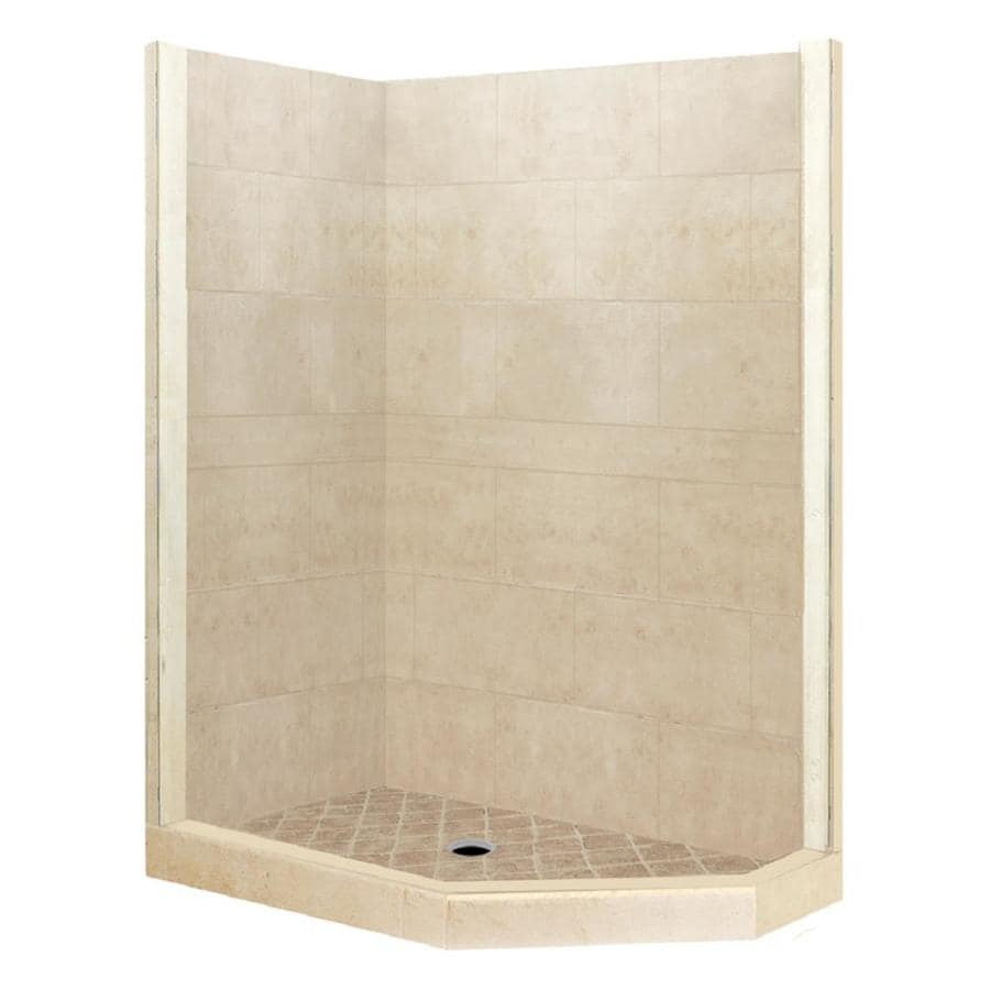 American Bath Factory Sonoma Sistine Stone Wall Stone Composite Floor Neo-Angle 7-Piece Corner Shower Kit (Actual: 80-in x 42-in x 48-in)