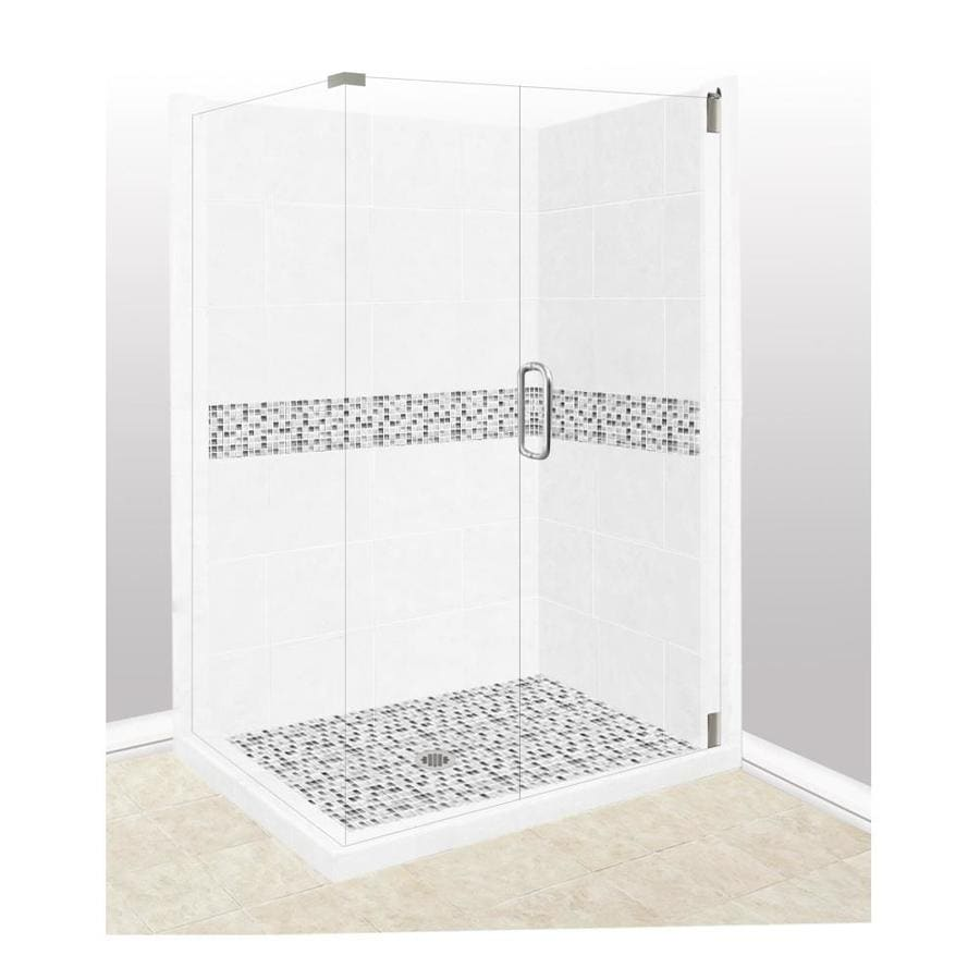 American Bath Factory Laguna Light with Laguna Mosaic Tiles Sistine Stone Wall Stone Composite Floor Rectangle 10-Piece Corner Shower Kit (Actual: 80-in x 36-in x 42-in)