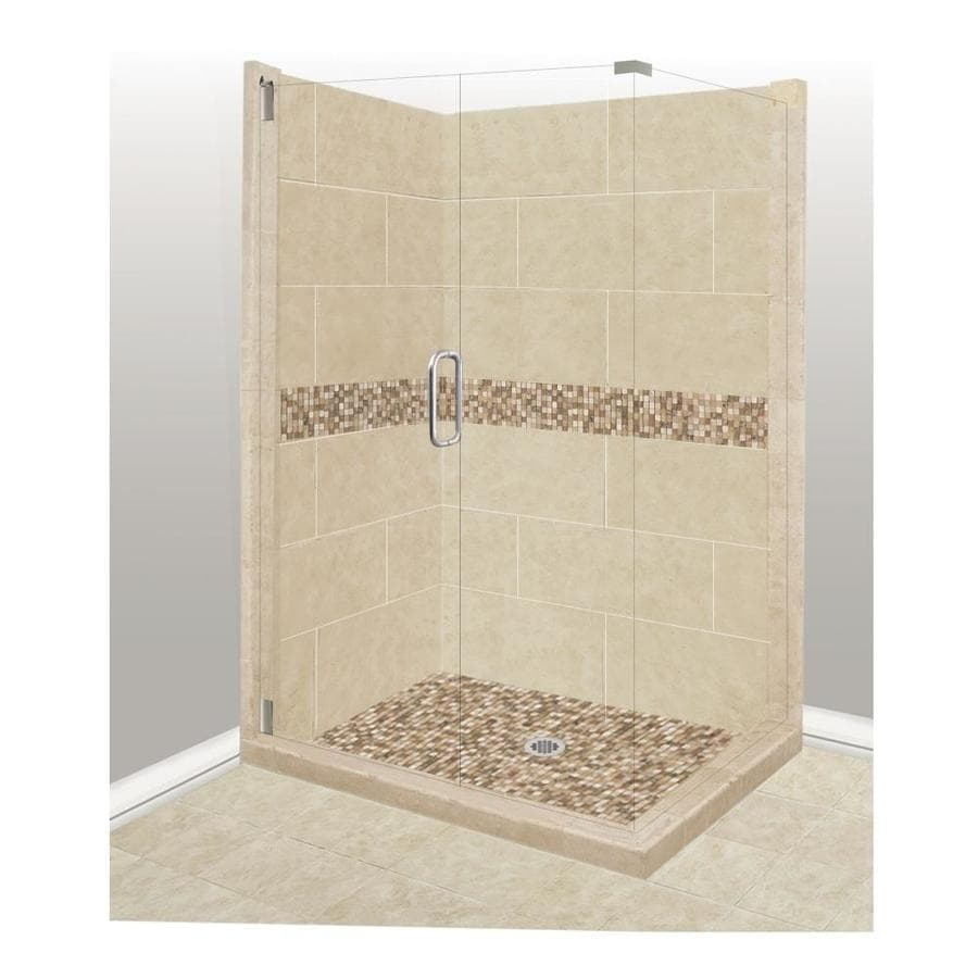 American Bath Factory Mesa Medium with Mesa Mosaic Tiles Sistine Stone Wall Stone Composite Floor Rectangle 10-Piece Corner Shower Kit (Actual: 80-in x 36-in x 42-in)