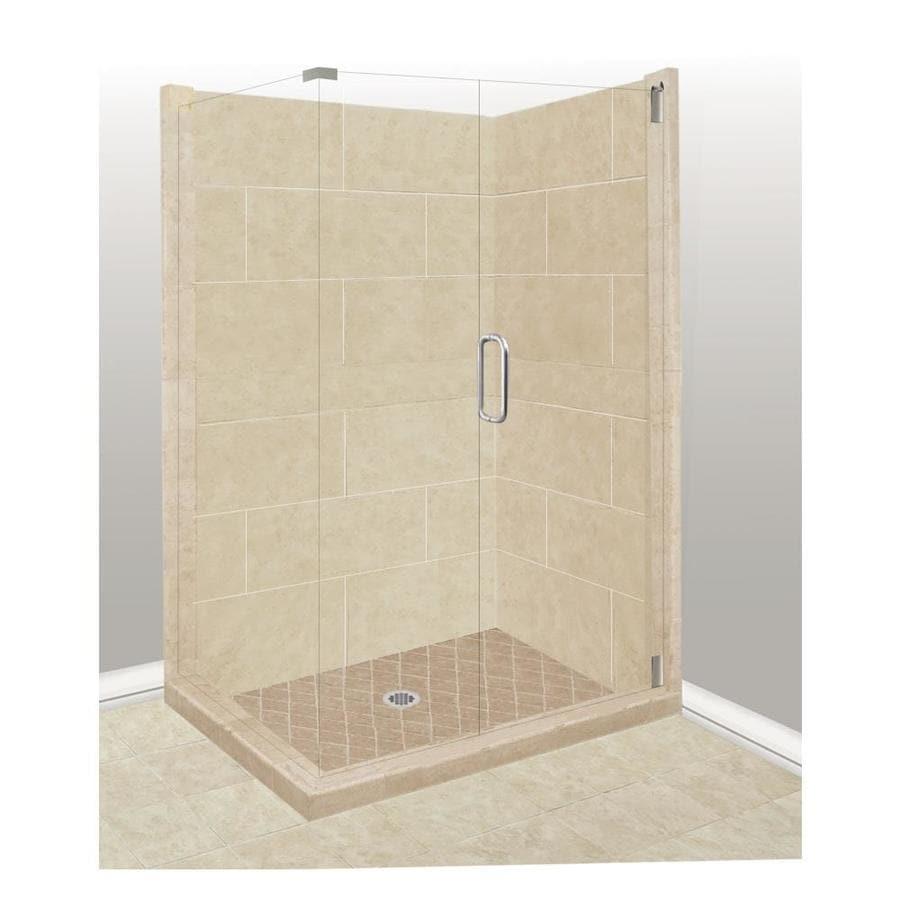 American Bath Factory Sonoma Medium Sistine Stone Wall Stone Composite Floor Rectangle 10-Piece Corner Shower Kit (Actual: 80-in x 42-in x 48-in)