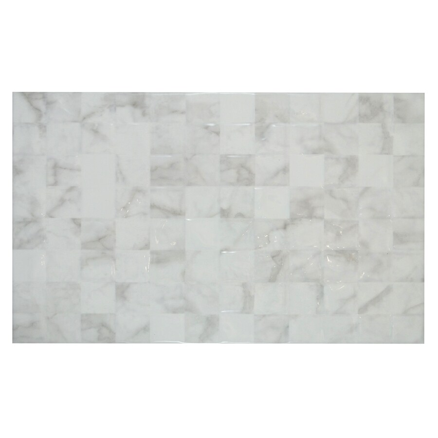 MULIA TILE Carrara White with Grey Veining Ceramic Wall Tile (Common: 10-in x 16-in; Actual: 15.66-in x 9.76-in)