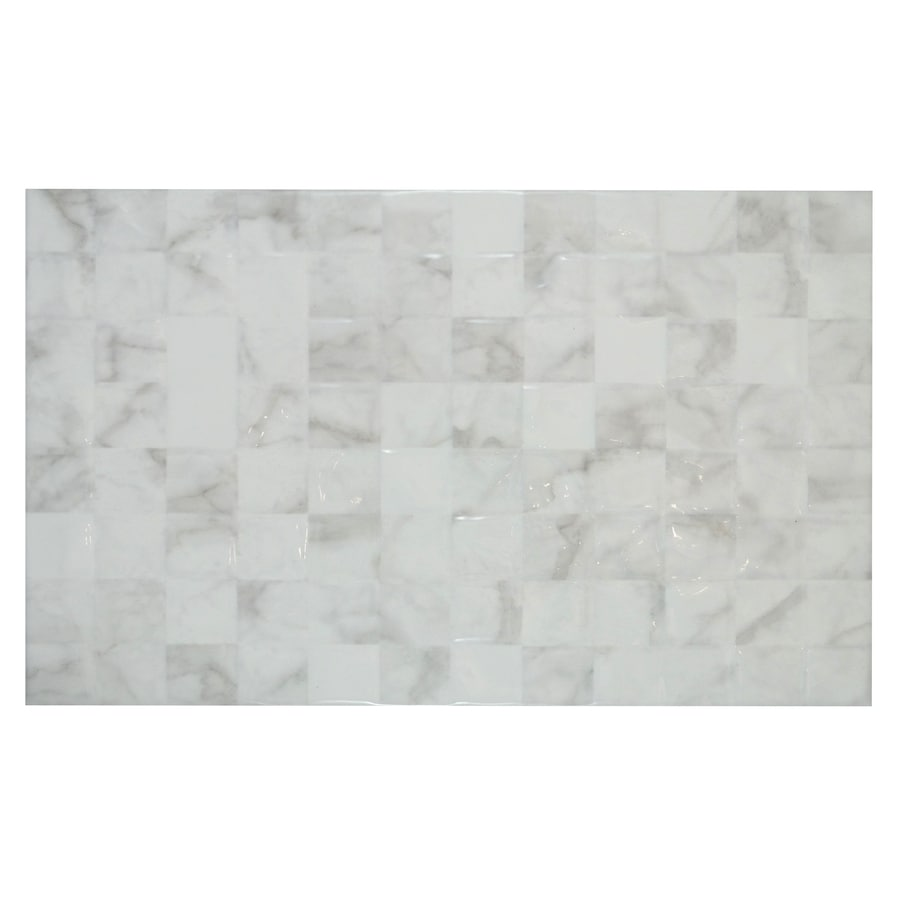 Shop MULIA TILE Carrara White With Grey Veining Ceramic Wall Tile - 16 x 16 white ceramic floor tile