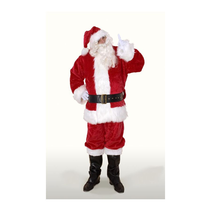 X-Large Maroon Polyester Santa Claus Suit