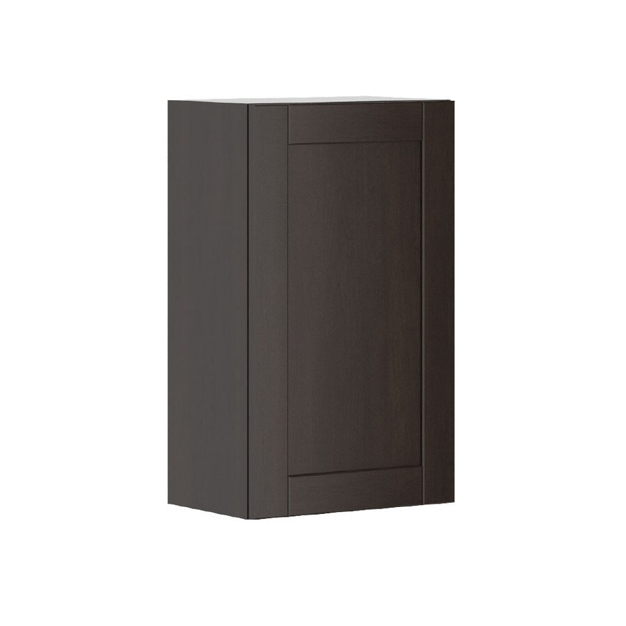 K Collection Kentia 17.9375-in W x 30.25-in H x 11.625-in D Stained Kentia Birch Shaker Door Wall Cabinet
