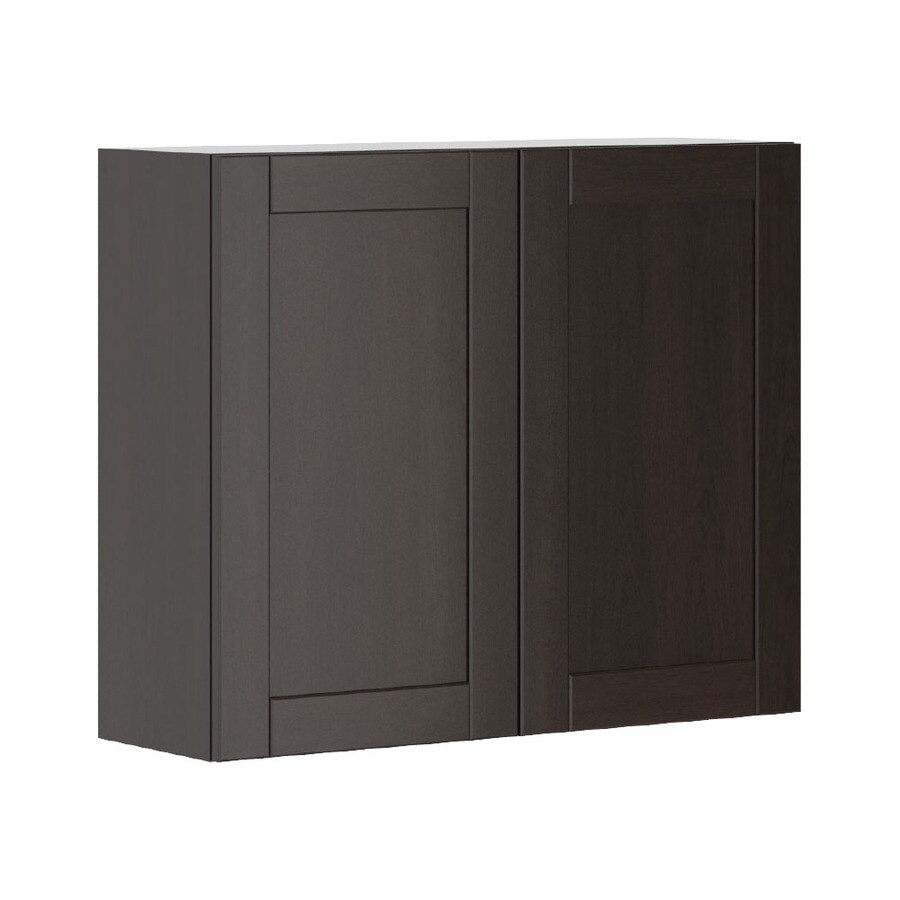K Collection 35.875-in W x 30.25-in H x 11.625-in D Stained Kentia Birch Shaker Door Wall Cabinet