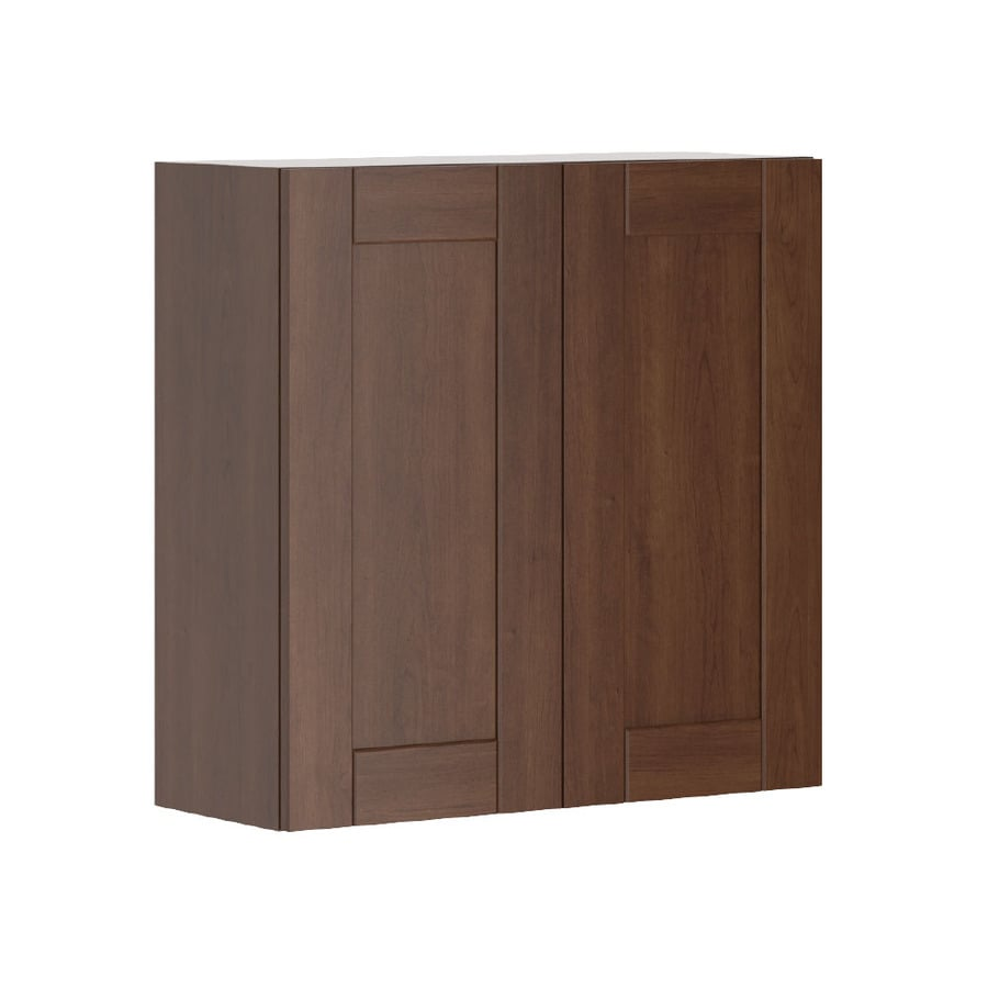 K Collection Kaleo 30.25-in W x 30.25-in H x 11.625-in D Stained Kaleo Birch Shaker Door Wall Cabinet