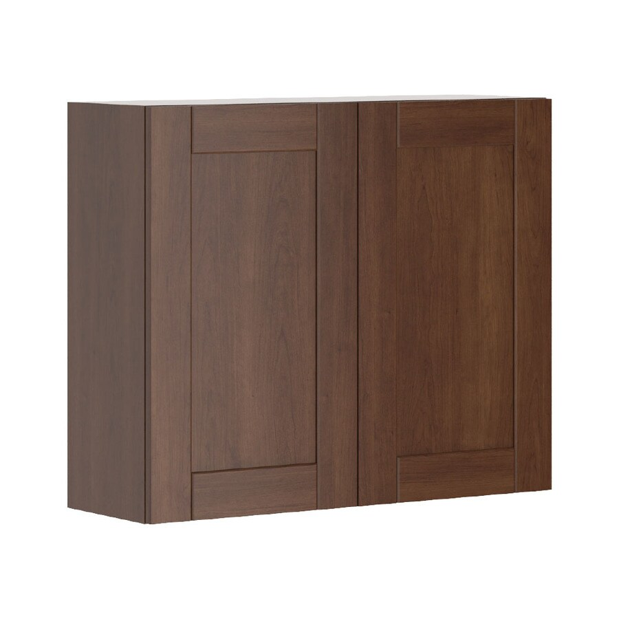 K Collection 35.875-in W x 30.25-in H x 11.625-in D Stained Kaleo Birch Shaker Door Wall Cabinet