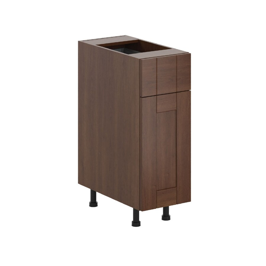 K Collection Kaleo 12-in W x 34.5-in H x 23.625-in D Stained Kaleo Birch Shaker Door and Drawer Base Cabinet