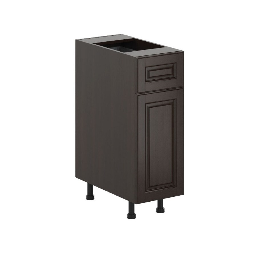 K Collection Kira 12-in W x 34.5-in H x 23.625-in D Stained Kira Birch Door and Drawer Base Cabinet