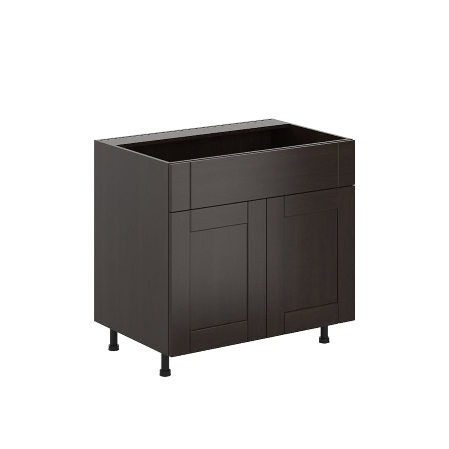 K Collection Kentia 35.875-in W x 34.5-in H x 23.625-in D Stained Kentia Birch Shaker Sink Base Cabinet